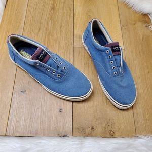 Sperry Top Sider Blue canvas slip on shoes